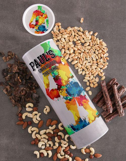 gourmet: Personalised Snacks Biltong and Nuts Tube!