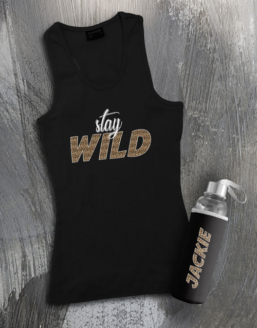clothing: Personalised Stay Wild Waterbottle And Racerback!