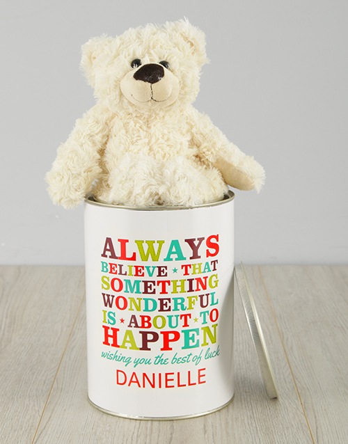 personalised: Personalised Best Of Luck Teddy Tin!