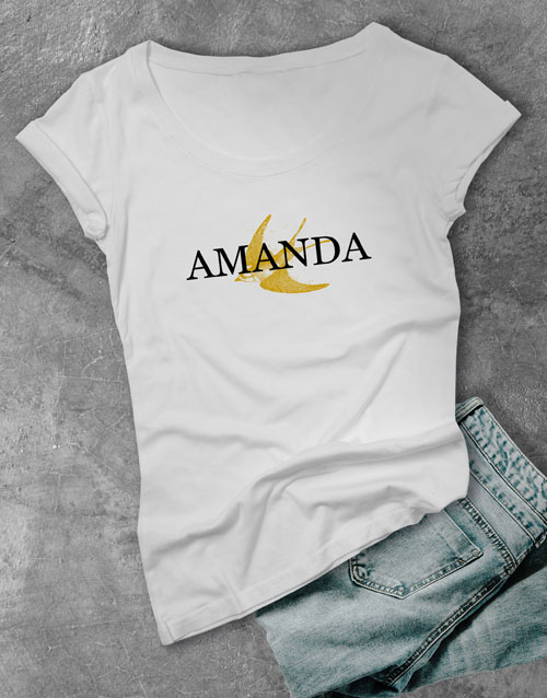 personalised: Personalised Swallow Graphic Ladies T Shirt!