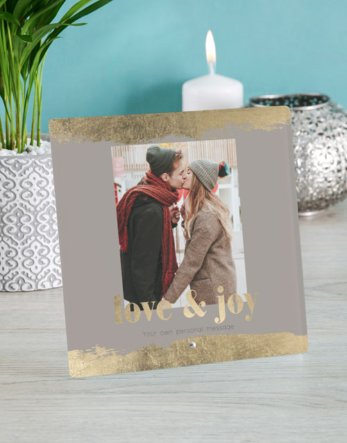 christmas: Personalised Love And Joy Glass Tile!
