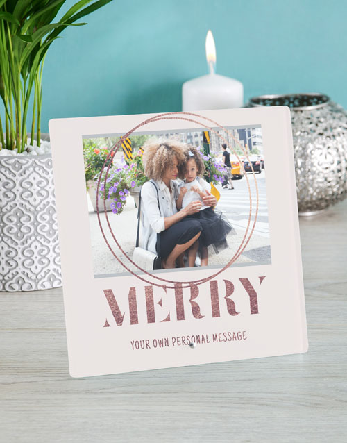 christmas: Personalised Merry Glass Tile!