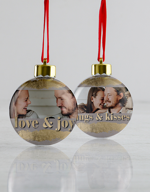 christmas: Personalised Love And Joy Baubles!