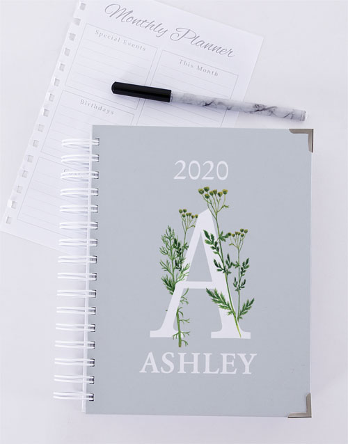 mothers-day: Personalised Botanical Initial Diary!