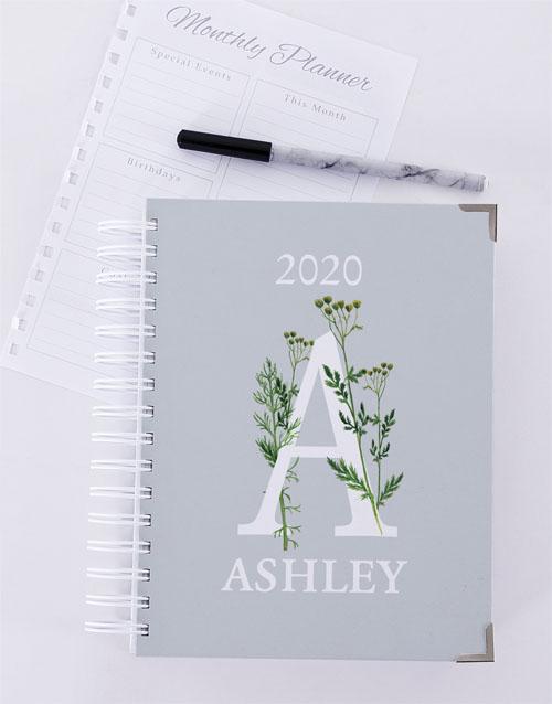 christmas: Personalised Botanical Initial Diary!