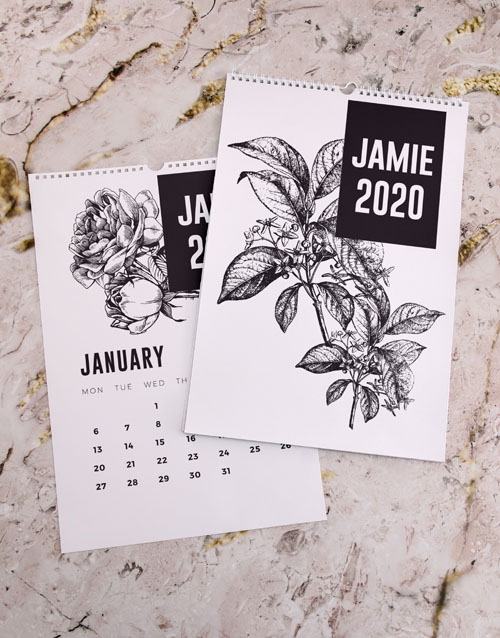 christmas: Personalised Botanical Sketch Wall Calendar!