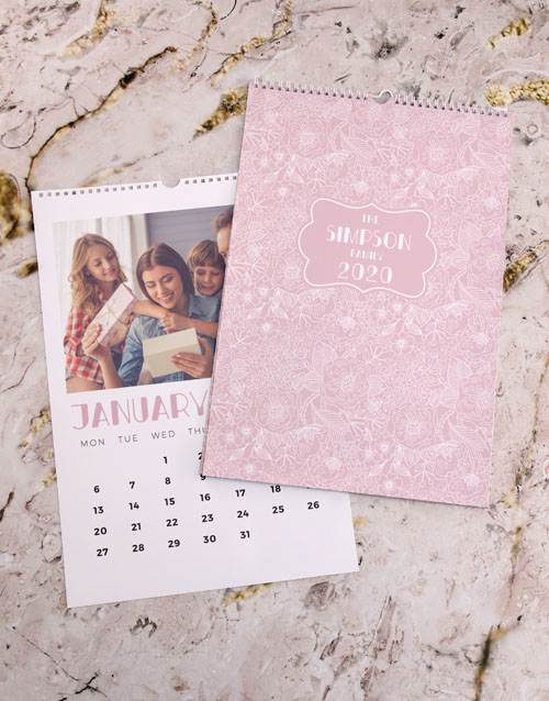 christmas: Personalised Pink Floral Wall Calendar!