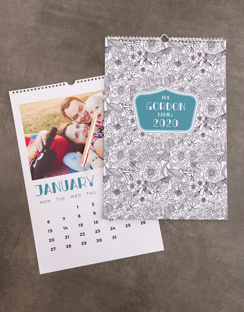 christmas: Personalised Floral Sketch Wall Calendar!