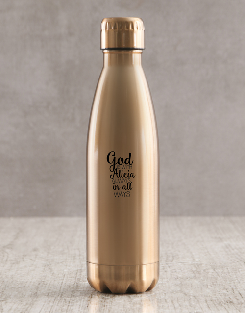 christmas: Personalised God Is With You Waterbottle!