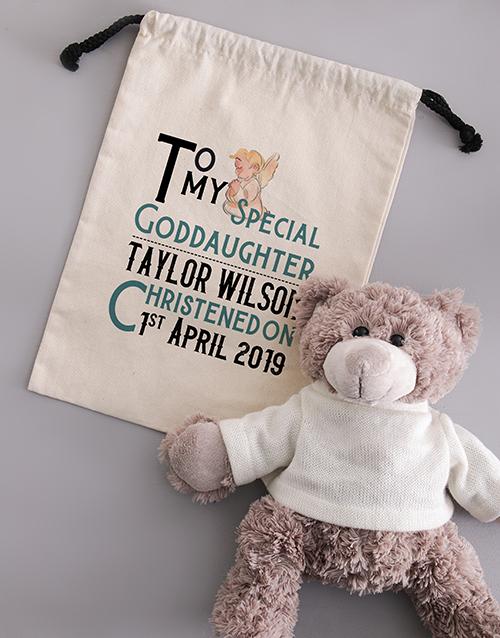 baby: Personalised Teddy in Angelic Drawstring Bag!