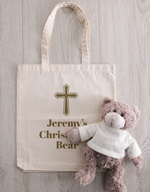 baby: Personalised Teddy in Holy Cross Drawstring Bag!