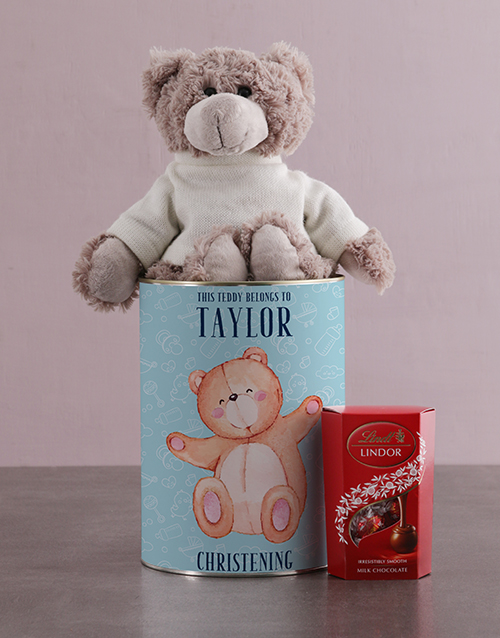 baby: Personalised Christening Teddy Tin!