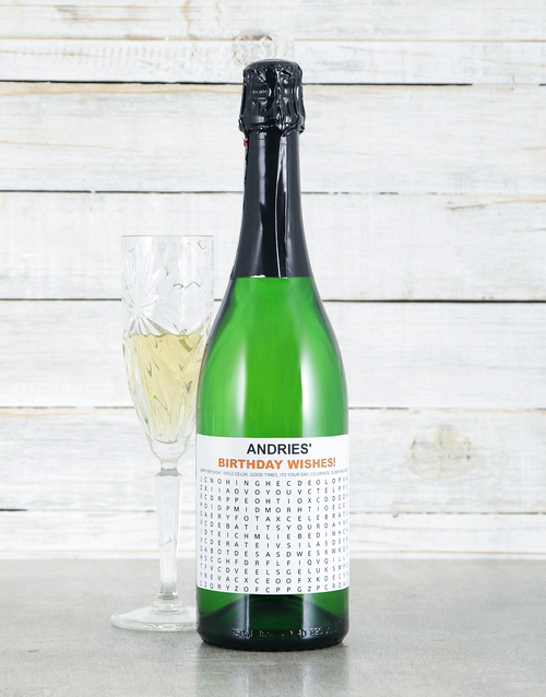 house-warming: Personalised Birthday Crossword Sparkling Wine!