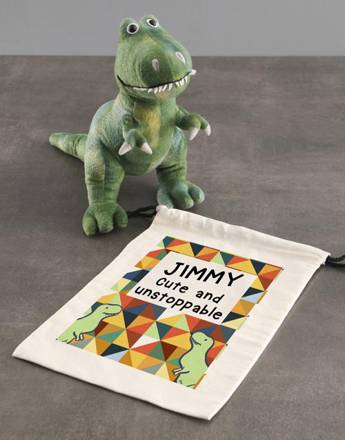 teddy-bears: Personalised Dinosaur Teddy With Drawstring Bag!