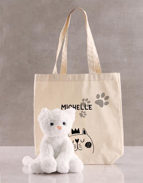 teddy-bears: Personalised Cat Teddy And Tote Bag!
