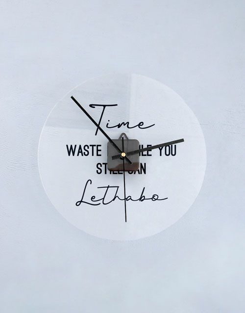 home-decor: Personalised Waste Time Perspex Clock!