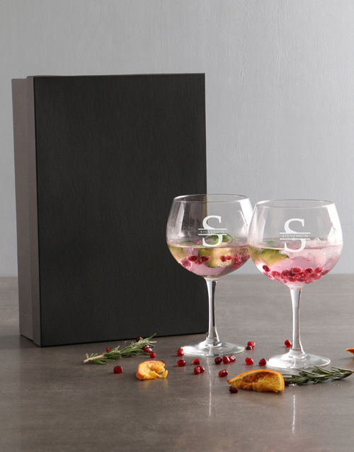 rosh-hashanah: Personalised Surname And Initial Gin Glass Set!