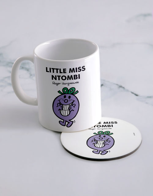 homeware: Personalised Little Miss Naughty Mug And Coaster!