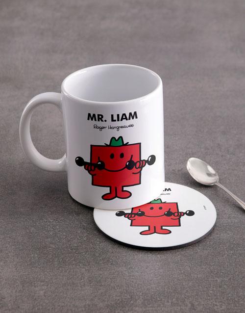 homeware: Personalised Mister Strong Mug And Coaster !