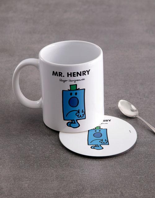 homeware: Personalised Mister Grumpy Mug And Coaster !
