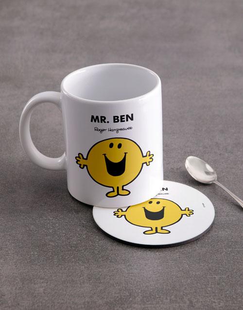 homeware: Personalised Mister Happy Mug And Coaster!