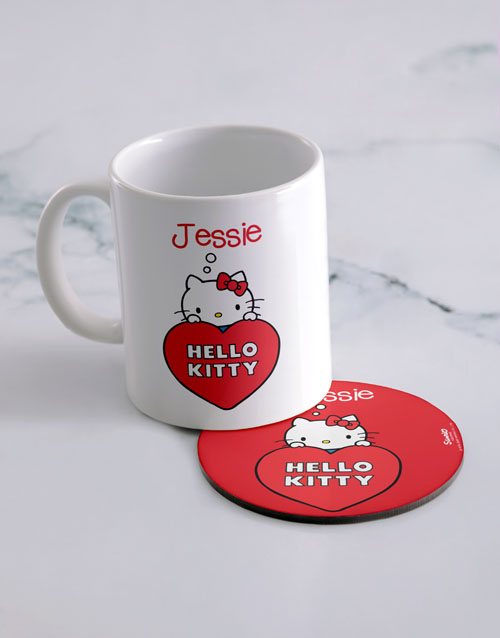 homeware: Personalised Hello Kitty Love Mug And Coaster!