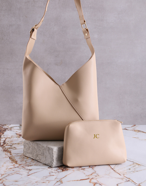 mothers-day: Personalised Tan Bag With Pouch !