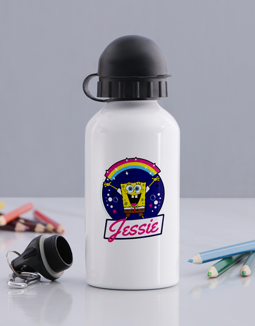 personalised: Personalised SpongeBob Rainbow Water Bottle!