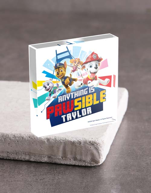kids: Personalised Paw Patrol Acrylic Block!