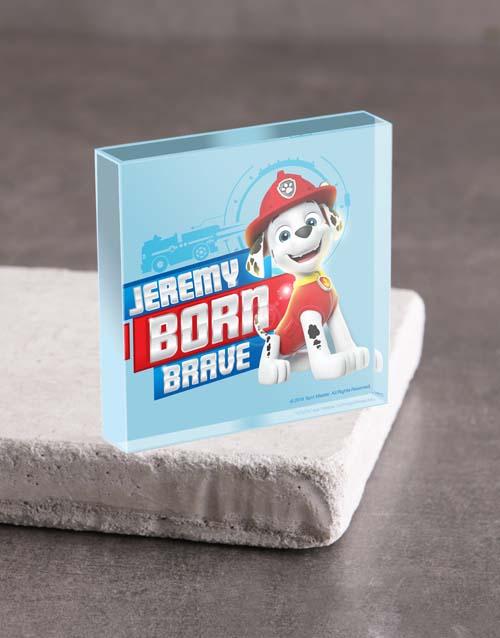 kids: Personalised Born Brave Acrylic Block!