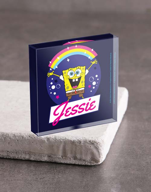 kids: Personalised SpongeBob Rainbow Acrylic Block!