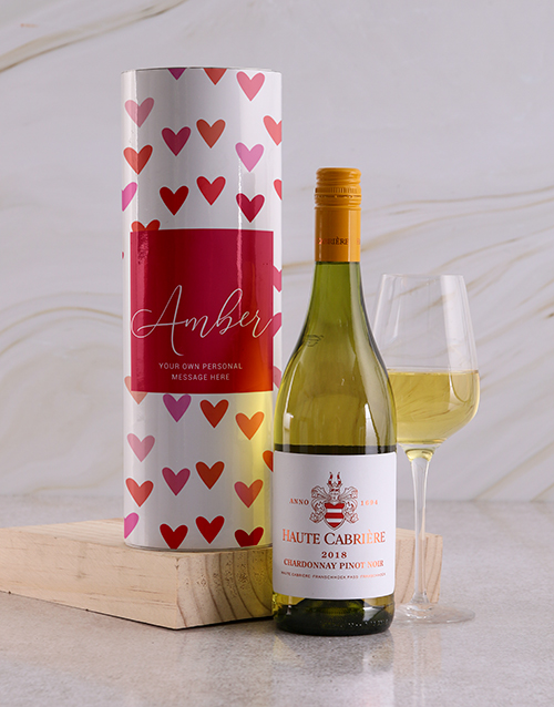 fine-alcohol: Personalised Hearts Wine Tube!