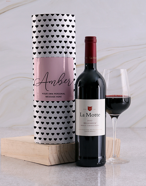 fine-alcohol: Personalised Black Hearts Wine Tube!