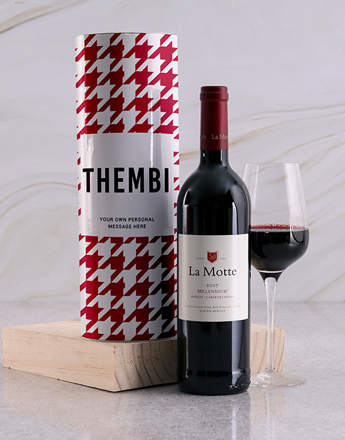 fine-alcohol: Personalised Red Houndstooth Wine Tube!