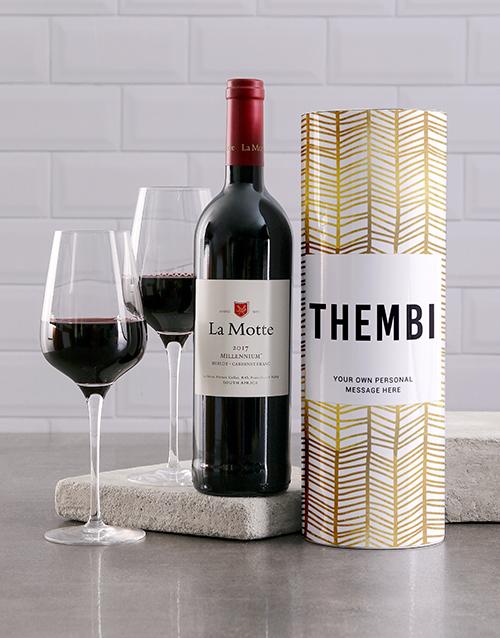 fine-alcohol: Personalised Gold Geometric Wine Tube!