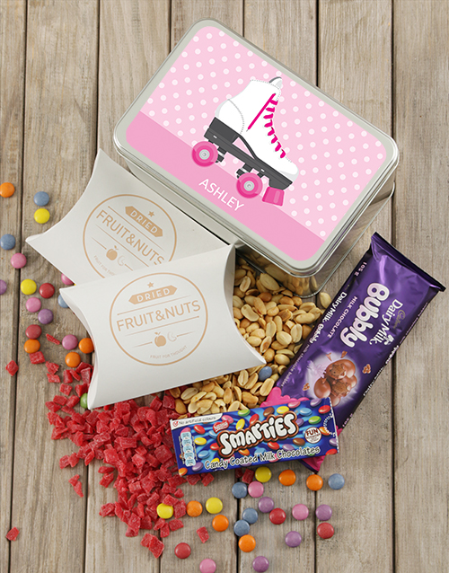 gifts: Personalised Roller Skating Snack Tin!