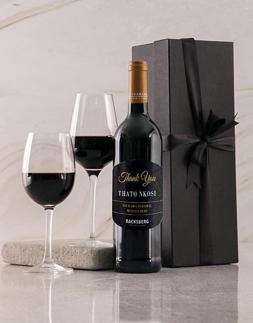 personalised: Personalised Black Backsberg Thanks Giftbox!