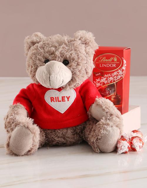 chocolate: Personalised Heart Hugs Teddy And Lindt Hamper!