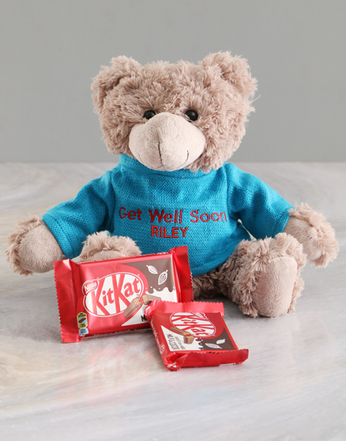 chocolate: Personalised Get Well Teddy And Kit Kat Hamper!