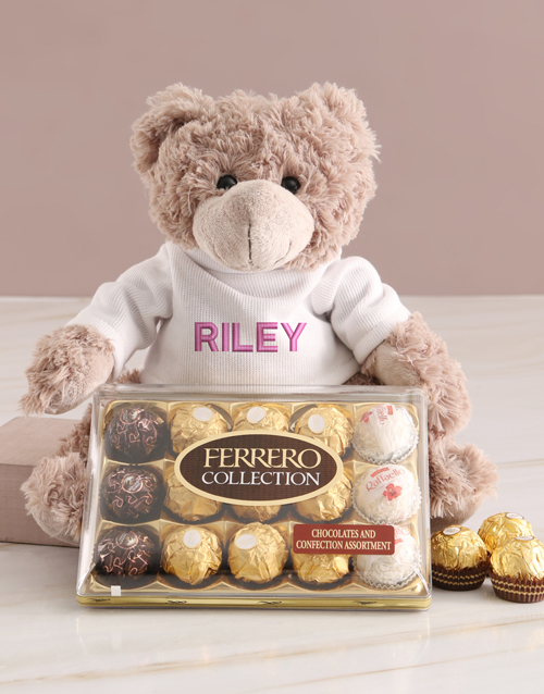 chocolate: Personalised Embroider Teddy And Chocolate Hamper!