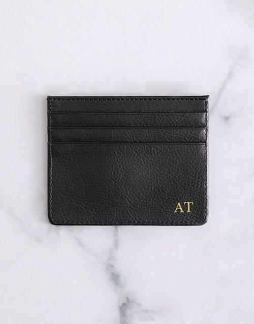 apparel: Personalised Black Card Holder !