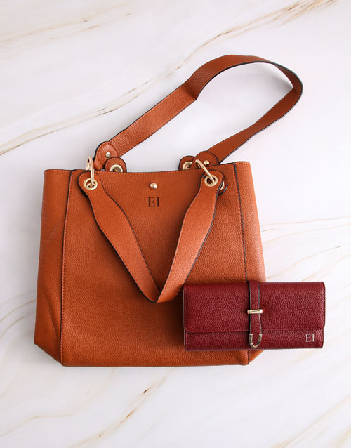 gifts: Personalised Tan Tote Bag and Long Purse!
