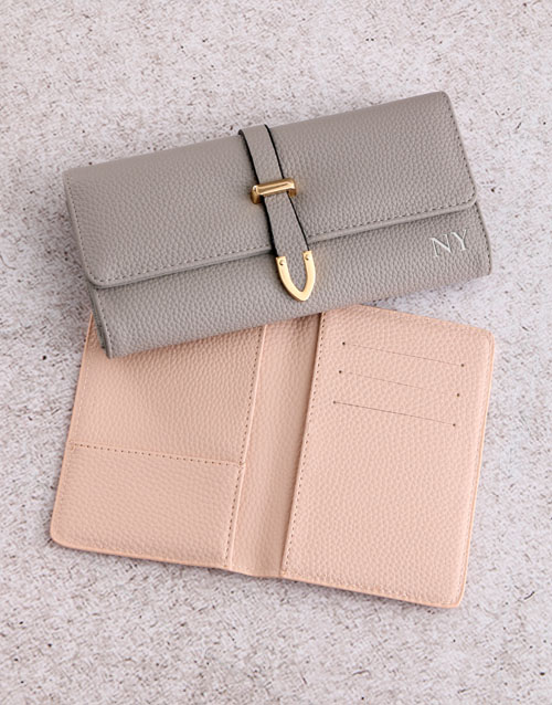 personalised: Personalised Grey Purse with Passport Holder !