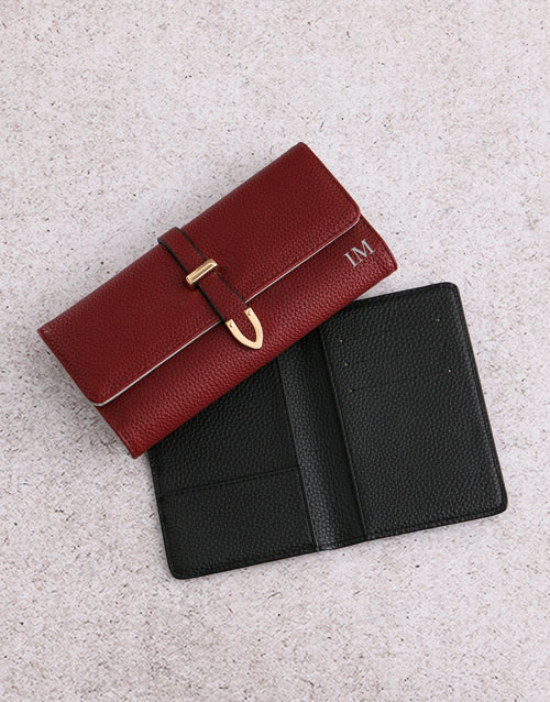 valentines-day: Personalised Burgundy Purse with Passport Holder!
