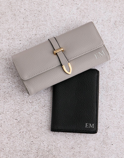 personalised: Personalised Grey Purse and Passport Holder!
