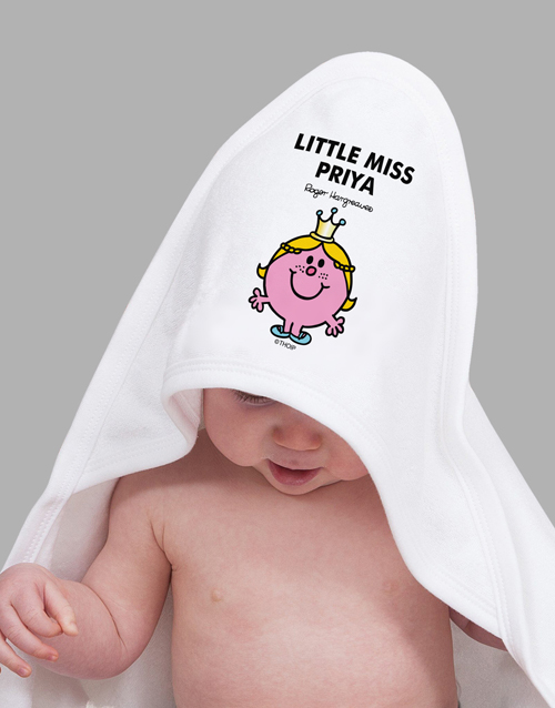personalised: Personalised Little Miss Princess Hoodie Towel!