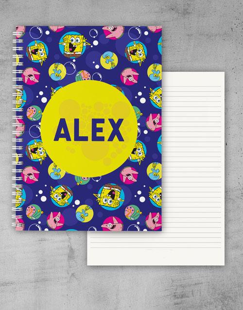 gifts: Personalised Purple SpongeBob Notebook!