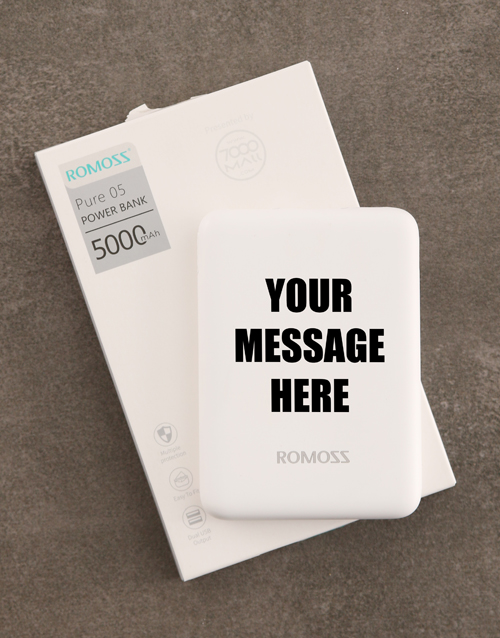 gifts: Personalised Message Romoss Power Bank!