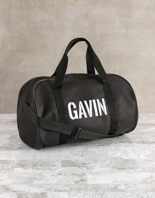 fathers-day: Personalised Stencil Black Sports Bag!