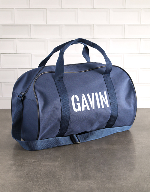 personalised: Personalised Stencil Navy Sports Bag!